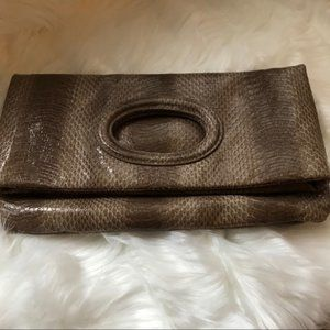 Faux snakeskin brown clutch